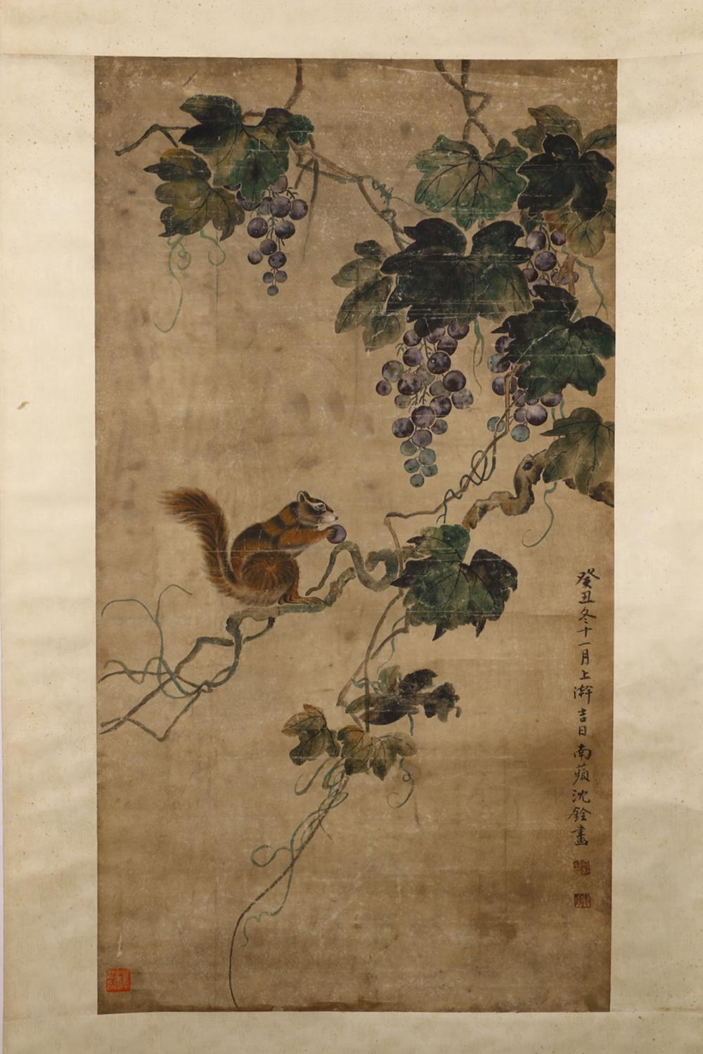 CHINESE PAINTING OF A SQUIRREL AND GRAPES