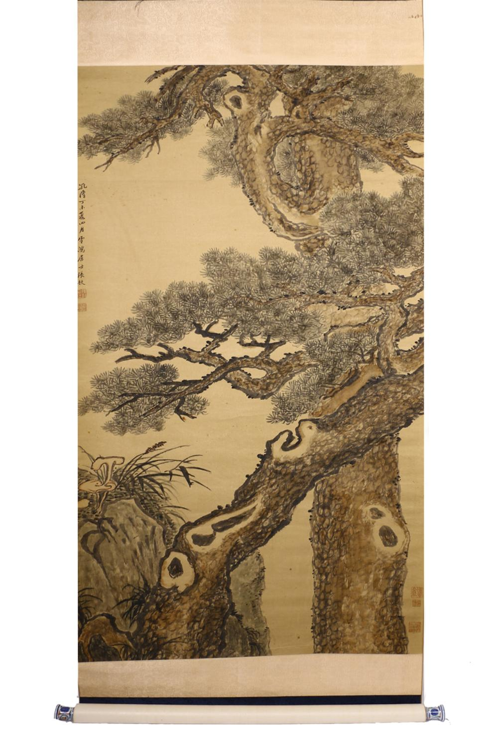 CHINESE INK AND COLOR PAINTING OF PINE TREES