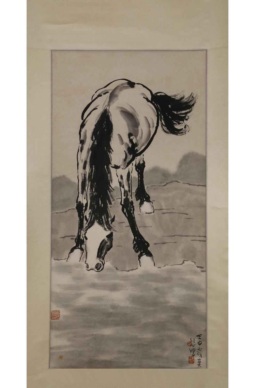 CHINESE INK PAINTING OF A HORSE DRINKING WATER