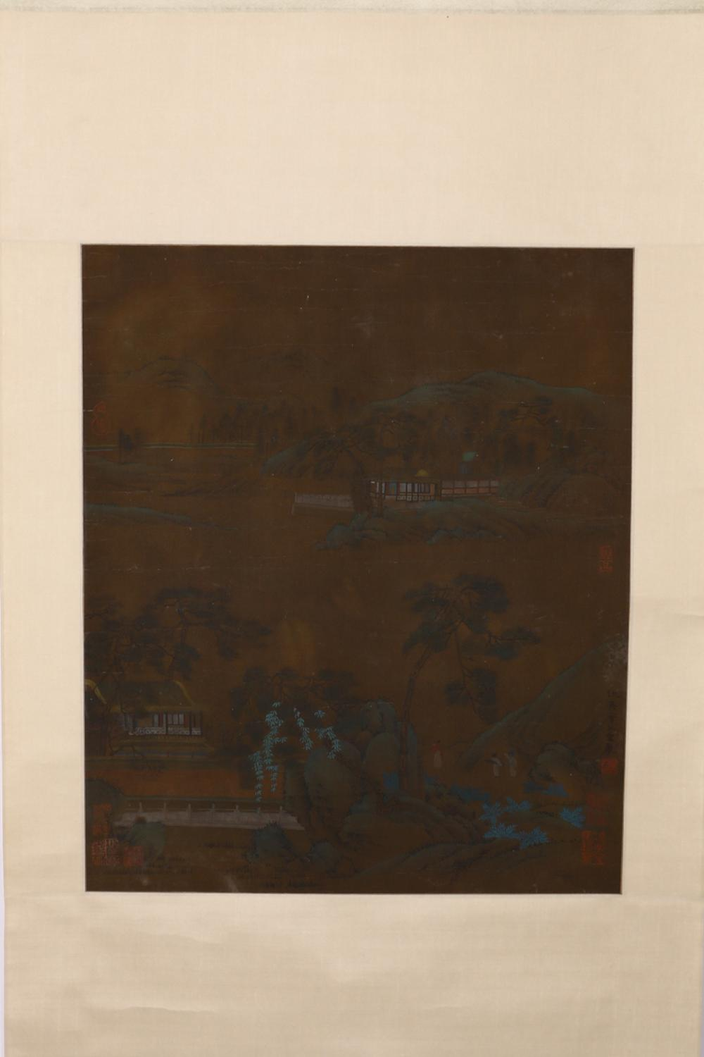 CHINESE PAINTING OF FIGURE AND LANDSCAPE ON SILK