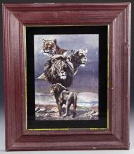 Framed Lion Art Work