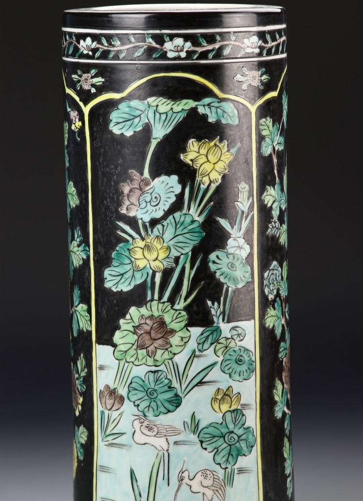 chinese famille noir hat vase. Black Bedroom Furniture Sets. Home Design Ideas
