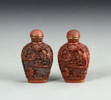 Chinese A Pair Of  Cinnabar Snuff Bottle