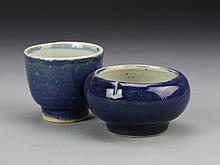 Two Chinese Antique Blue Brush Pot And Cup