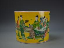 Chinese Wucai Brush Pot