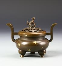 Chinese Bronze Tripod Incense Burner with Cover