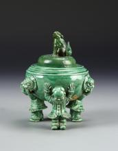 Chinese Light Green Glazed Tripod Censer