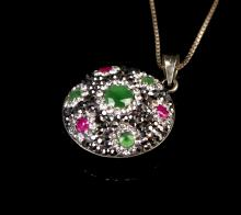 Chinese Ruby Pendant and Silver Necklace
