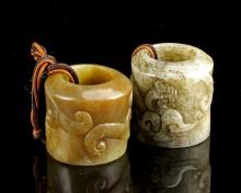 Two Chinese Jade Thumb Rings