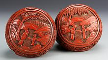Pair of Chinese Cinnabar Ink Boxes