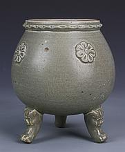 Chinese Lungquan Tripod Censer