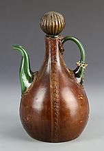 Italian Leather Covered Glass Ware Pot