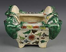 Chinese Wucai Glazed Brush Pot