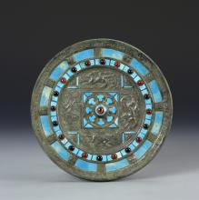 Chinese Antique Bronze Mirror with Turquoise Inlay