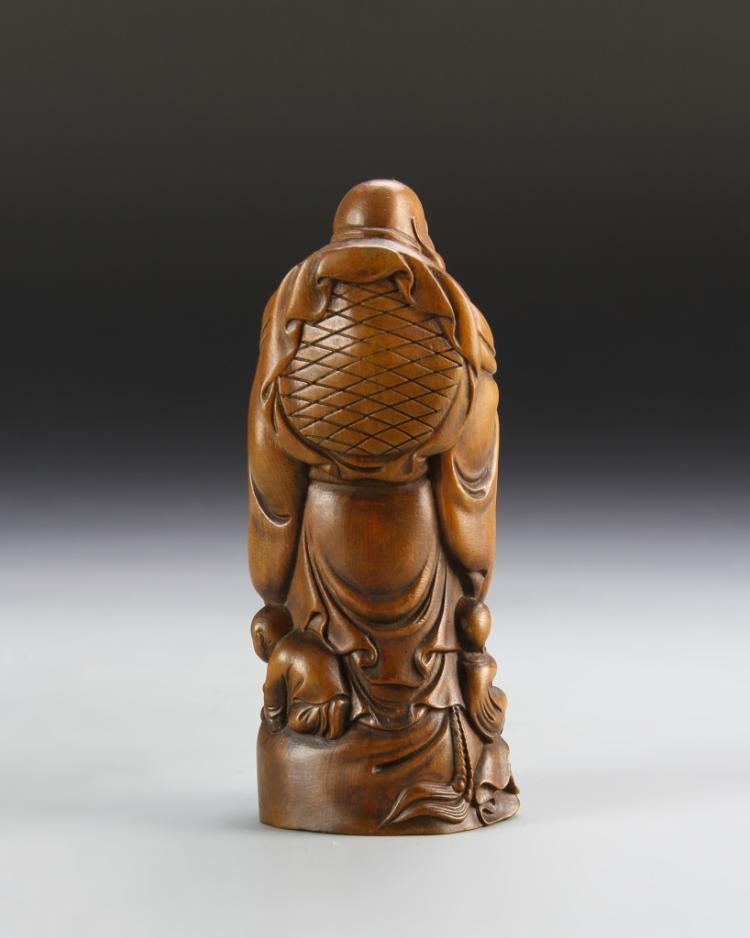 Chinese carved boxwood happy buddha