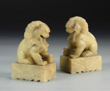 Pair of Chinese Shoushan Lions