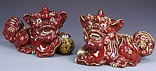 Pair of Chinese Red-Glazed Foo Dogs