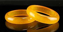 Two Chinese Yellow Jade Bangles
