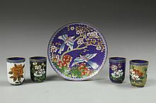 Five Chinese Cloisonne Plates with Four Tea Cups