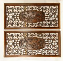 Pair Of Carved Chinese Rosewood Panels