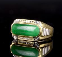 Chinese Jadeite Gold Ring with Miniature Diamond