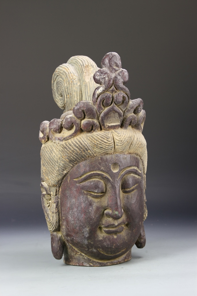 Chinese Antique Wood Buddha Head