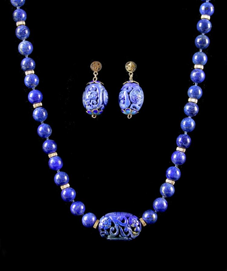 Chinese Lapis Necklace with Pair of Earrings