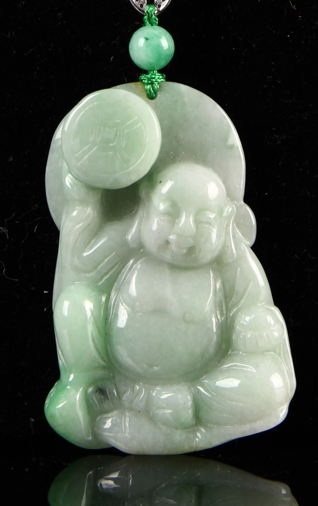 Chinese Jadeite Buddha Pendent with Necklace
