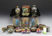 Nineteen Japanese Cloisonne Pieces