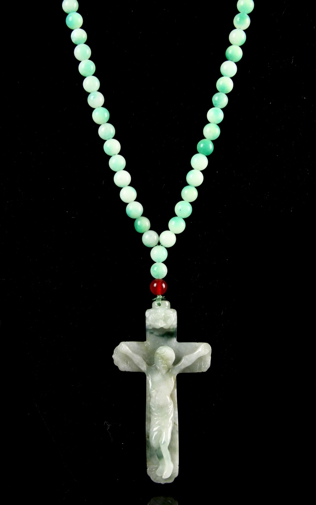 Chinese Jadeite Jesus Pendent and Necklace