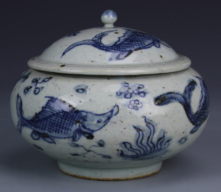 Chinese Blue and White Bowl With Cover