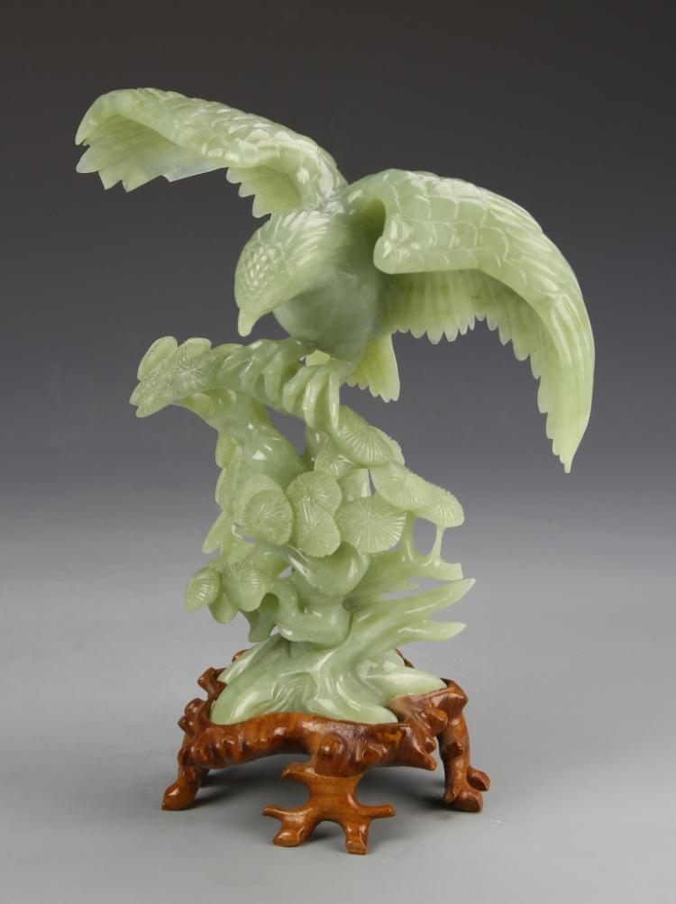 Chinese Jade Eagle With Base