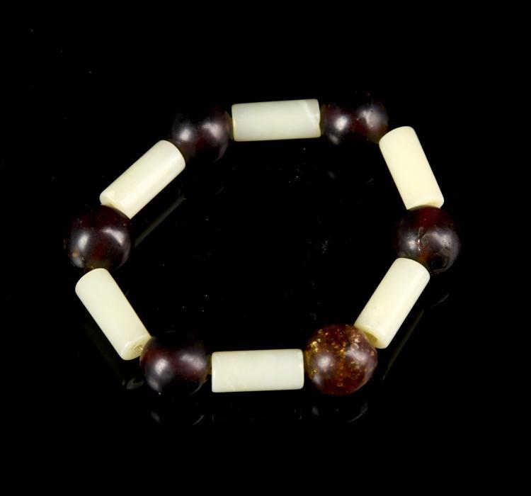 Chinese White Jade & Natural Amber Bracelet