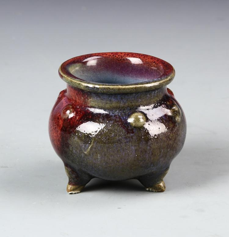 Chinese Jun Yao Tripod Censer