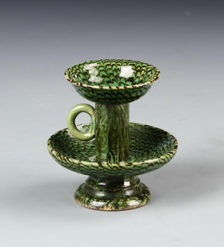 Chinese Green Oil Lamp