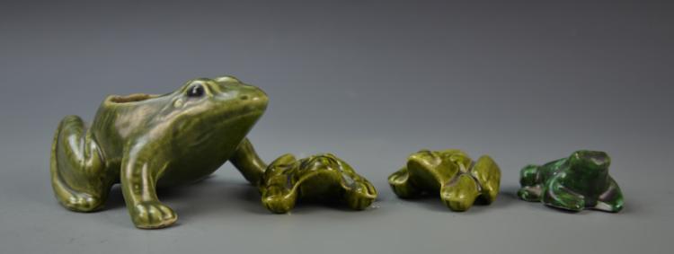 Four Ceramic Frog Figures