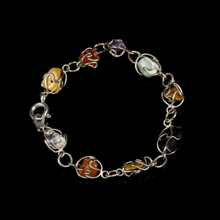 Chinese Silver and Stone Bracelet