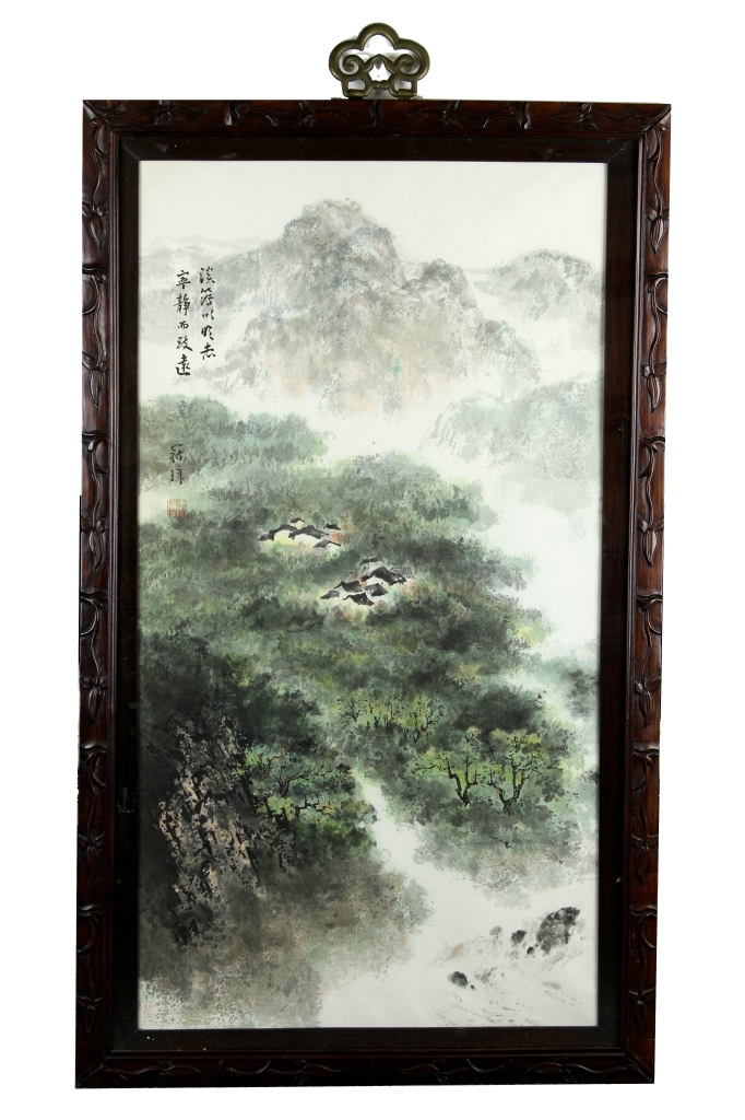 Chinese Framed Scroll Painting of Landscape