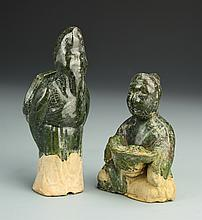 Two Chinese Green-Glazed Figures