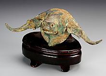 Chinese Bronze Bull Head