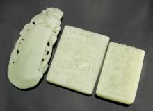 Three Chinese Carved Jade Pieces