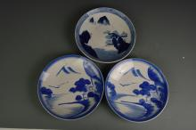 Three Chinese Blue and White Export Plates