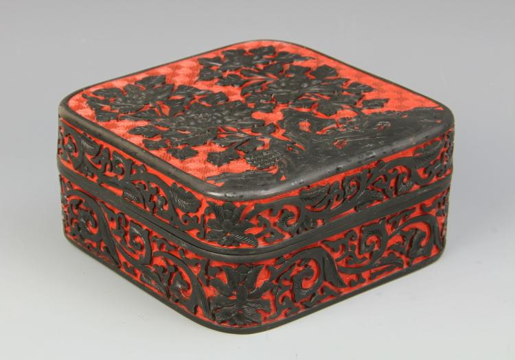 Chinese Cinnabar Square Box