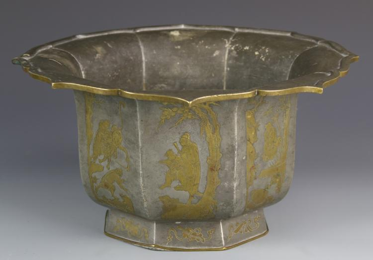 Chinese Metal Bowl with Figural Inlays