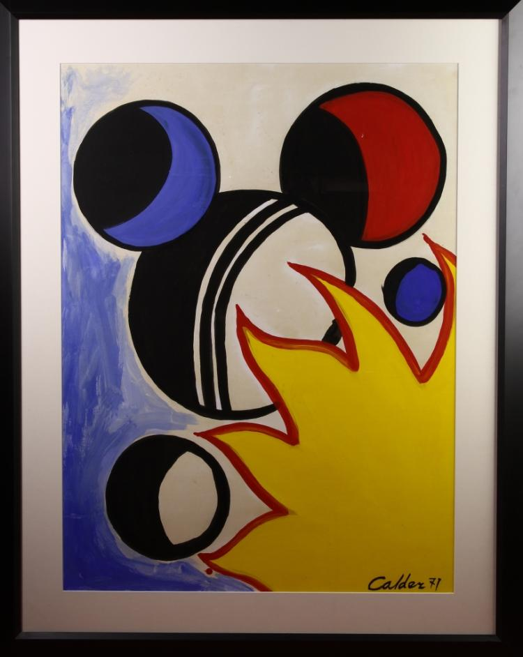 Framed Calder Gouche Abstract Art on Paper