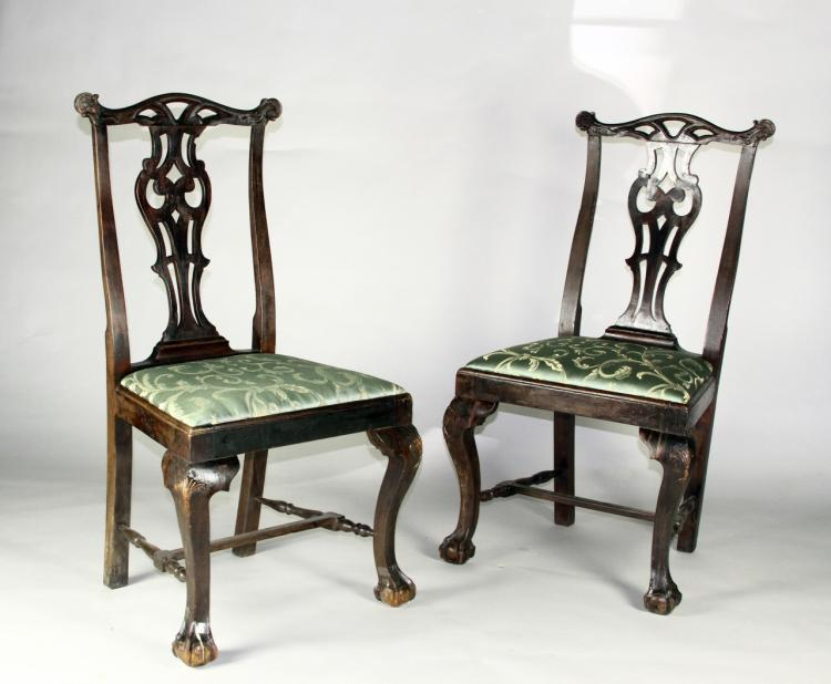 Pair of Queen Anne Peg Side Chairs