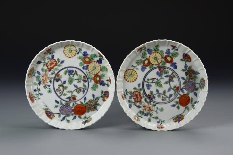Pair of Japanese Famille Rose Plates