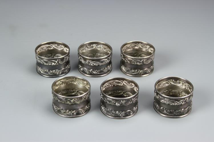 Six Silver Napkin Rings