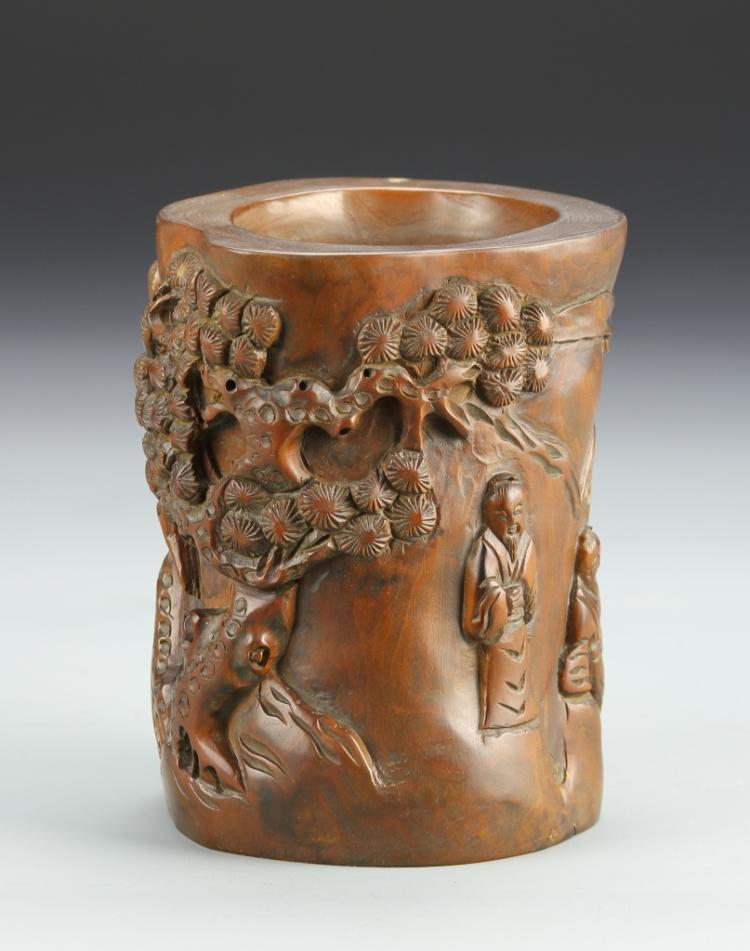 Chinese Carved Boxwood Brush Pot