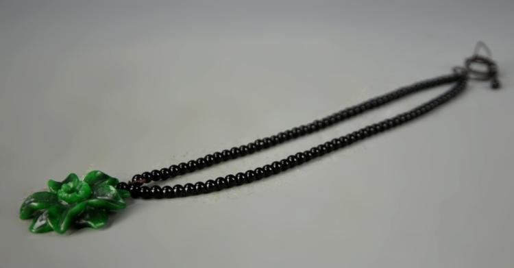Chinese Jadeite Pendant and Black Stone Necklace